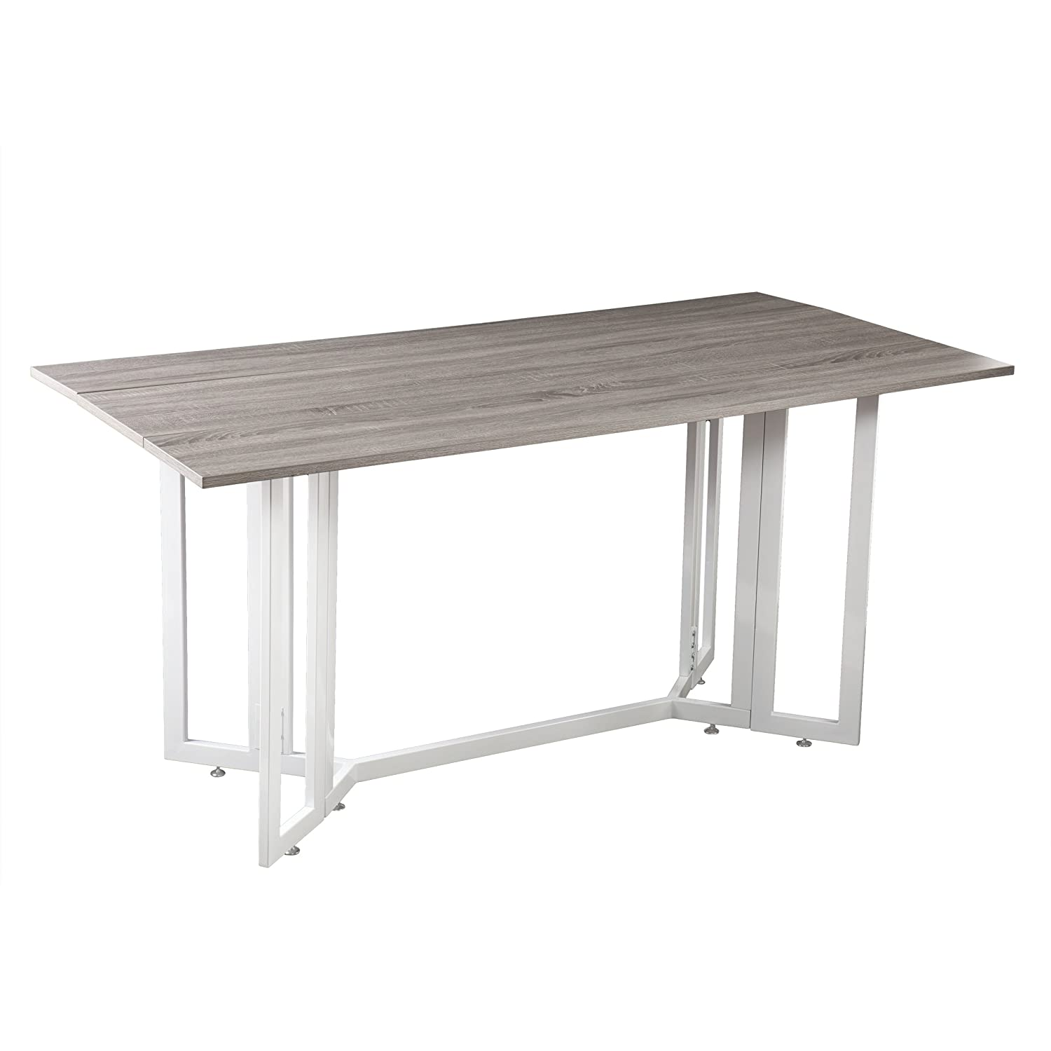 Driness Drop Leaf Console Dining Table – Weathered Gray w White Metal Base – Seats 4 to 6