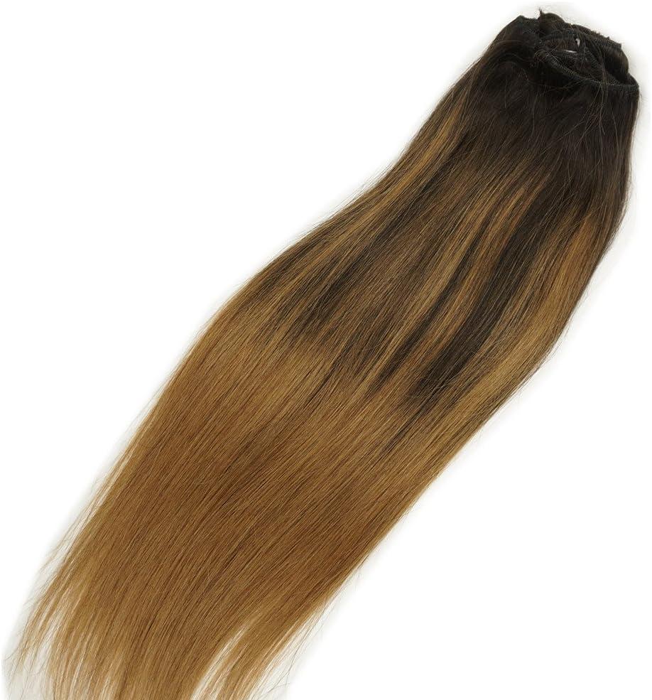 Stella Reina Extensiones de clip de cabello humano remy, color rubio degradado con reflejos dorados, #4 a P4/18 degradándose a rubio oscuro #18, 120 g