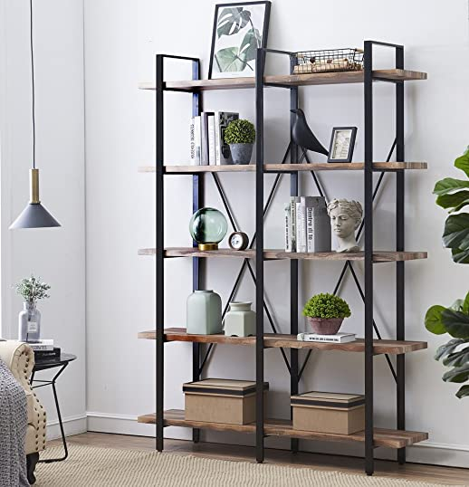 O K FURNITURE Double Wide 5-Tier Open Bookcases Furniture, Vintage Industrial Etagere Bookshelf, Large Book Shelves for Home Office Decor Display, Retro Brown