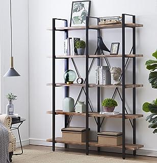 OK Furniture Double Wide 5 Tier Open Bookcases Vintage Industrial Etagere Bookshelf