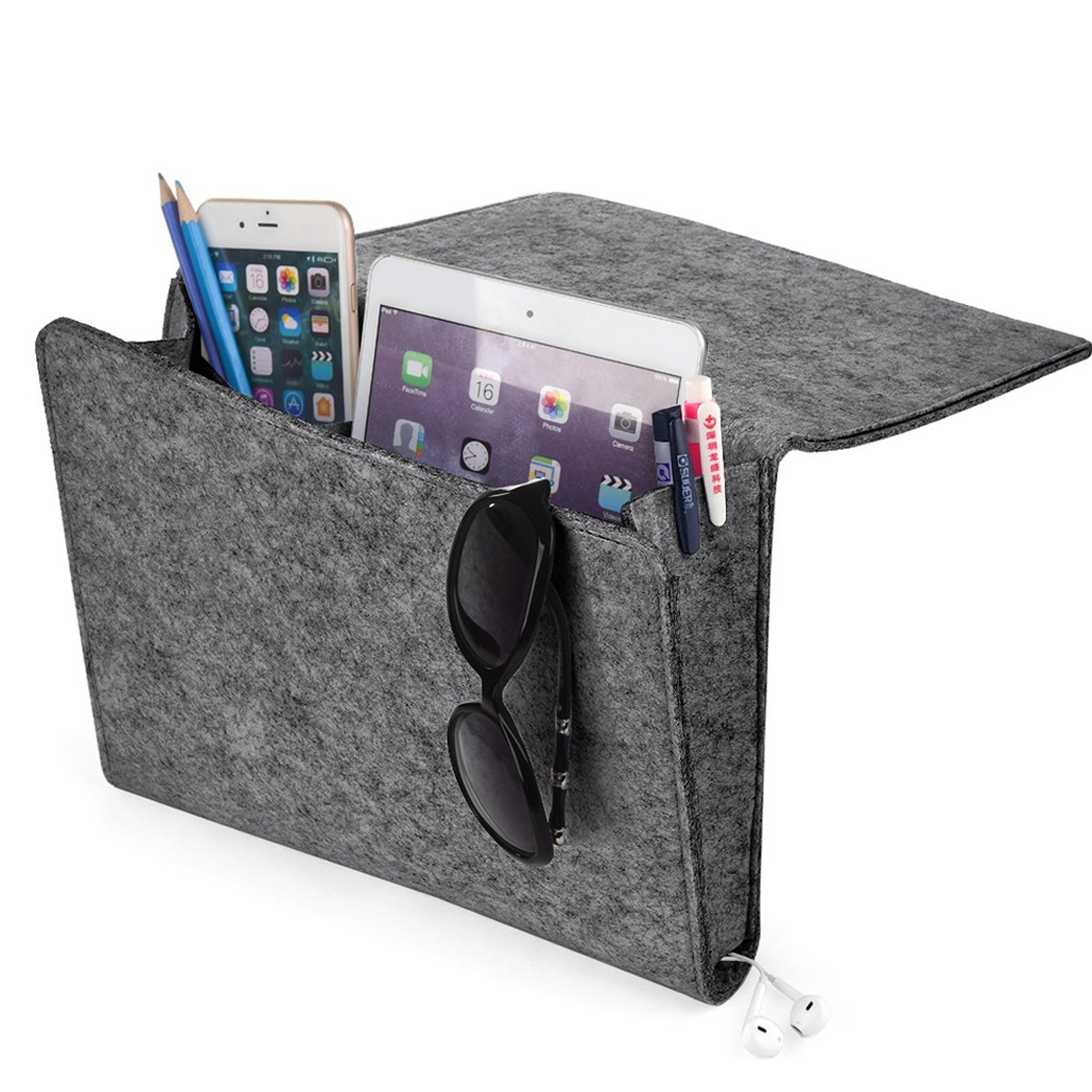 [UPGRADED] Thicker Bedside Caddy, Bed Caddy Storage Organizer Home Sofa Desk Felt Bedside Pocket with Cable Holes 2 Small Pockets for Organizing Tablet Magazine Phone Small Things Holder (Gray) KEHANGDA T108
