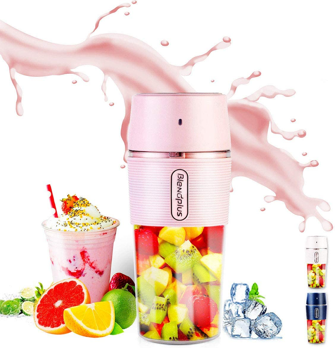 Portable Blender,ARTSUN Mini Blender USB Rechargeable Small Blender Personal Cup Juicer Waterproof,10.5oz(PINK)