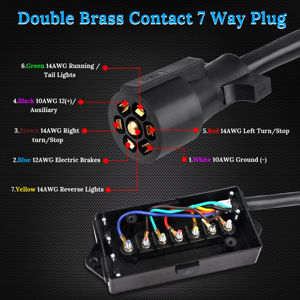 WATERWICH Heavy Duty 7 Way Trailer Plug Cord with 7 Gang Junction Box 8 Feet Harness Inline Copper Blade Wire Connector Weatherproof for RV Tow Truck Commercial Vehicle 8 Feet with Junction Box ltd TC7-8WT1 Jiande Everdevelop electric appliance co