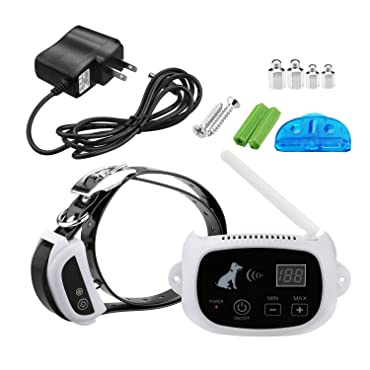 100% No Wire - Wire-Free Wireless Dog Fence System - Rechargeable Waterproof Receiver Collar - 500M Radius Remote Control - Pet Safe Training Perimeter Radio Wi-Fi Transmitter - Invisible Dog Fence