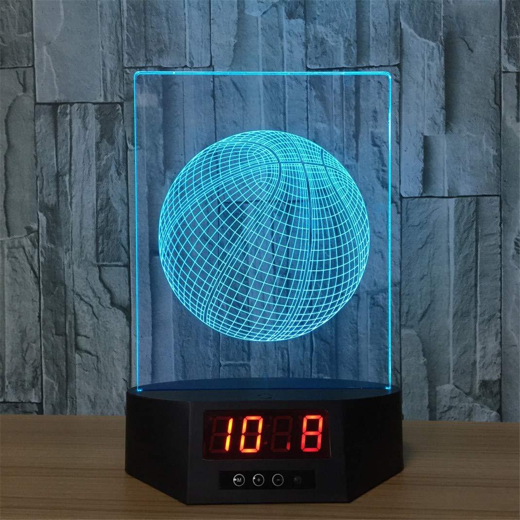 FENGCLOCK Illusion Optique r/éveil lumi/ère 3D Lampe Horloge changeant de Couleur Illusion de Basket-Ball LED Nuit contr/ôle Tactile lumi/ère 7 Veilleuse Cadeau /électronique PM