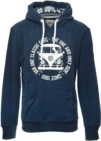 Van One Bulli FACE Used VW Bulli Mens Hoodie Navy White