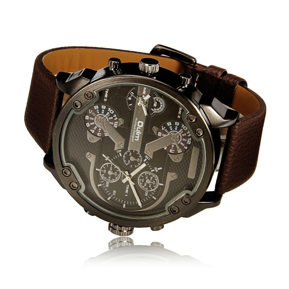 Amazon.com: Famous Designer Mens Watches Dual Time Zone Quartz-Watch Oulm Leather Strap Big Face Military Quartz Clock Relogio Masculino: Watches