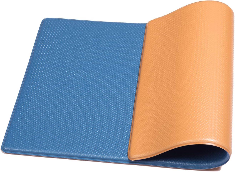 Simple Being Anti Fatigue Kitchen Floor Mat, Comfort Heavy Duty Standing Mats, Ergonomic Non-Toxic Waterproof PVC Non Slip Washable for Indoor Outdoor Home Office (Blue/Tan)