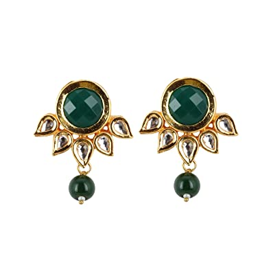 1b358ec45 Image Unavailable. Image not available for. Color  Designer Green Onyx  Stone Gold Plated Kundan Earring Stud ...