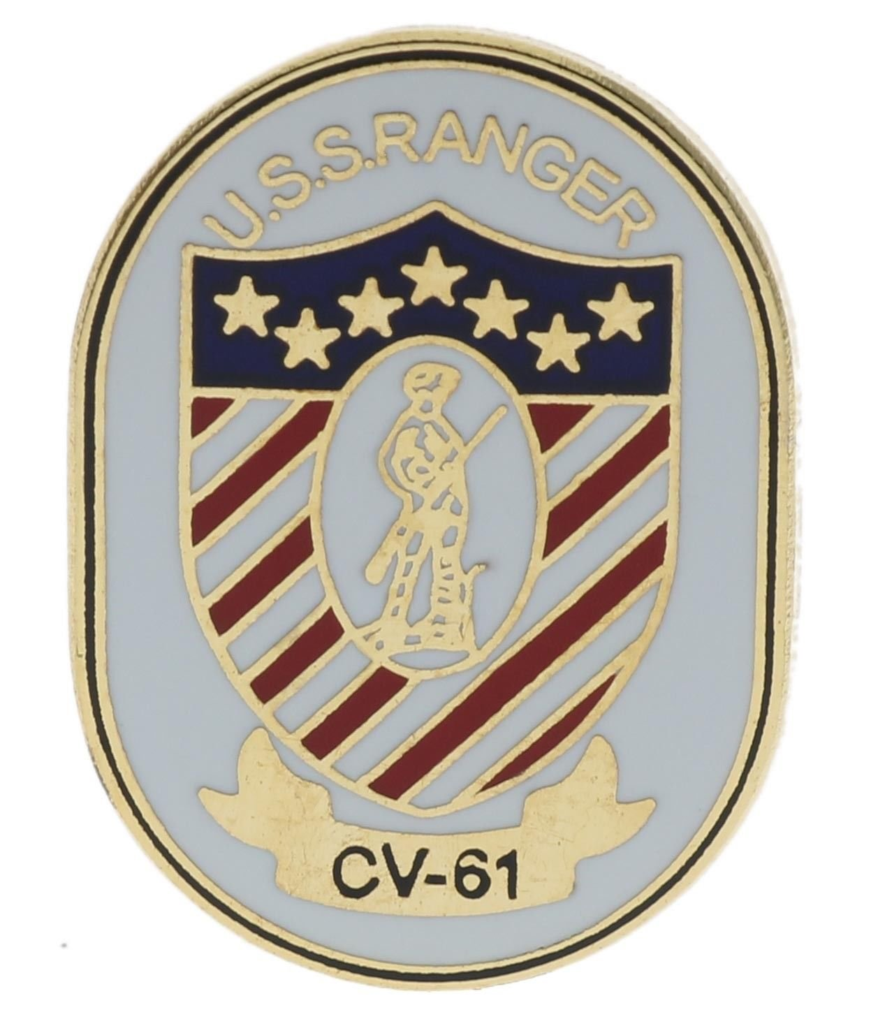 Navy USS Ranger CV-61 1 inch hat lapel pin H15549D164