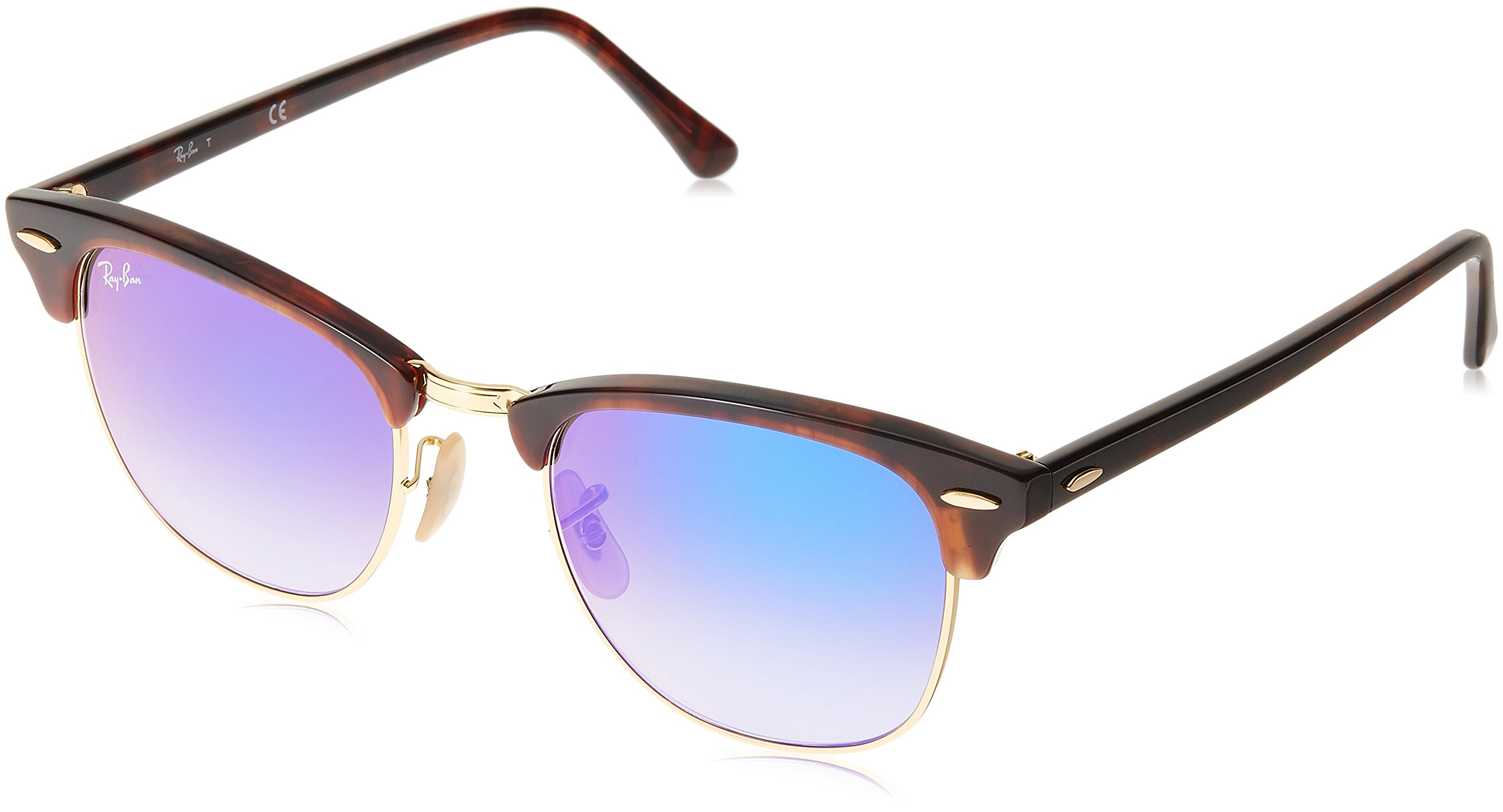 RAY-BAN RB3016 Clubmaster Square Sunglasses, Shiny Red Havana/Blue Gradient Flash, 51 mm by RAY-BAN