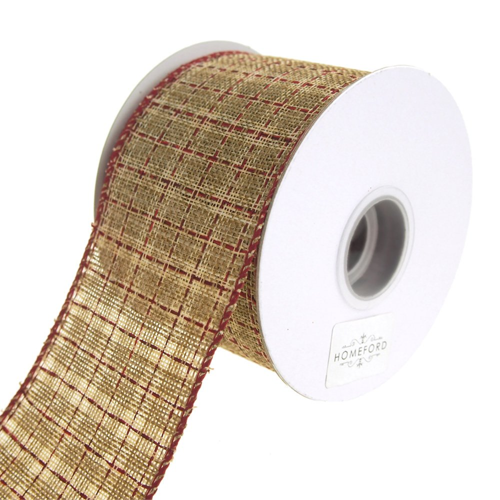 Homeford FRR092979W72640F Ribbon, 2-1/2'', Cream/Red