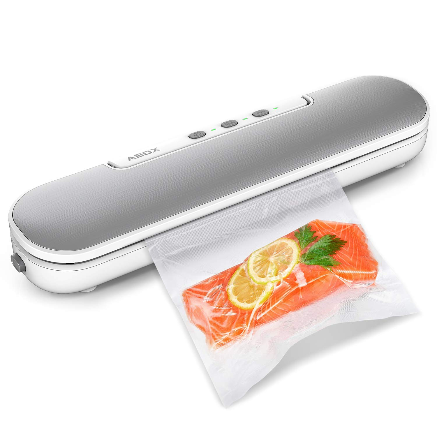 Vacuum Sealer Machine, ABOX V69 Portable Food Vacuum Air Sealing System for Food Saver Storage, Compact Design with Magnets and 10 Bags by ABOX