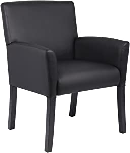 Boss Office Products Executive Box Arm Chair with Mahogany Finish in Black