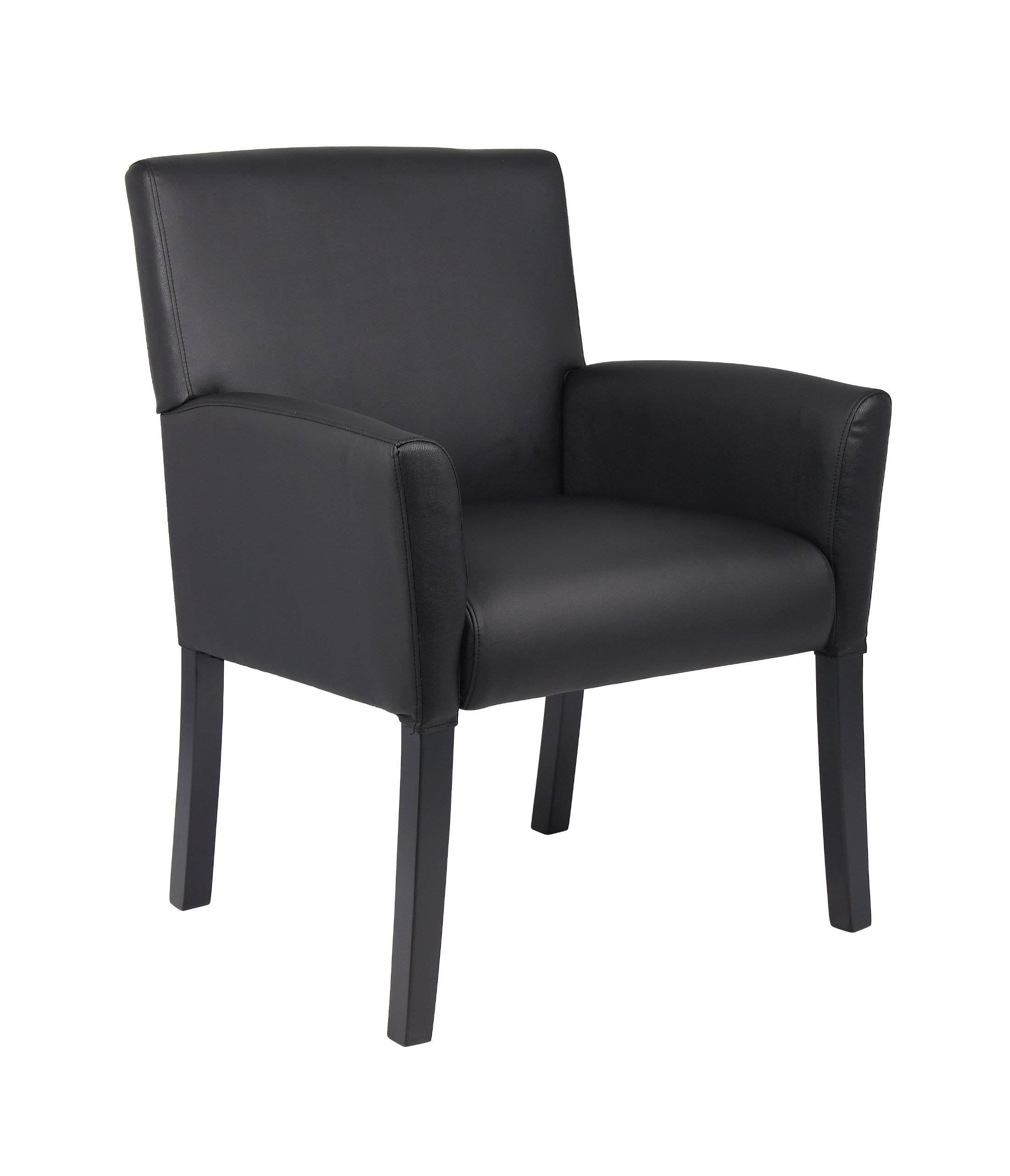 Boss Office Products B639-BK Executive Box Arm Chair with Mahogany Finish in Black