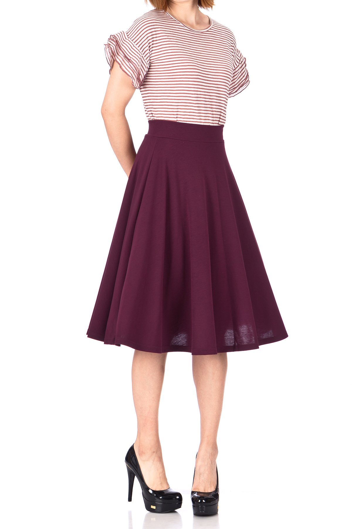 Beautiful Flowing A-line Flared Swing Midi Skirt (S, Bordeaux Wine)