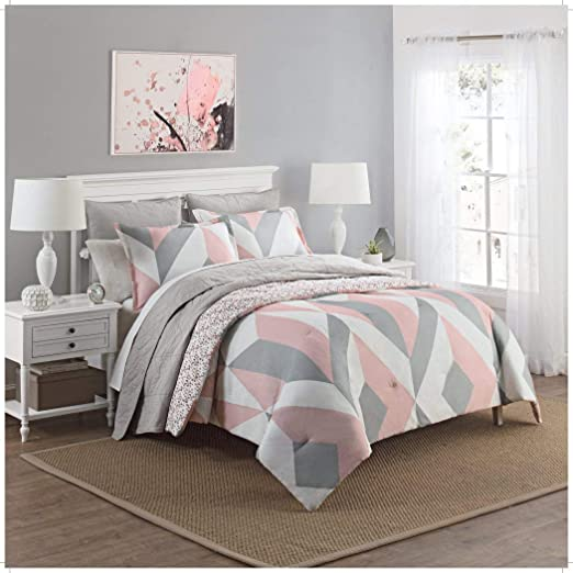 Amazon Com 3 Piece Girls Light Pink Grey White Geometric Polkadot