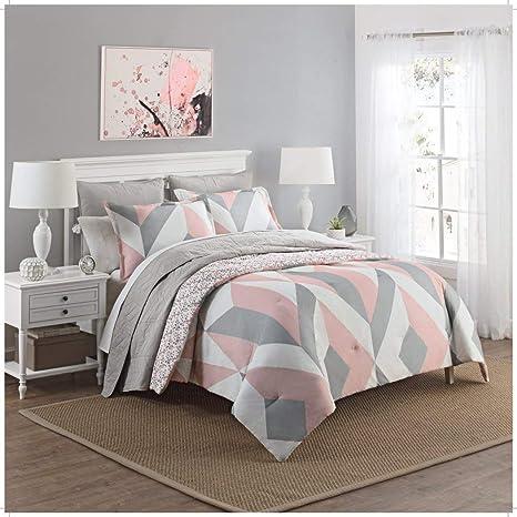 3 Piece Girls Light Pink Grey White Geometric Polkadot Theme Comforter Queen Set Beautiful Girly All Over Abstract Shape Polka Dot Bedding Stylish