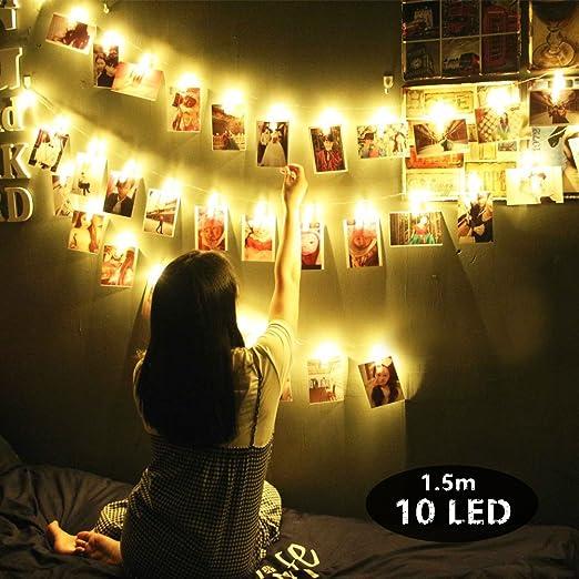Romántico Decoración de Fotos Casas Fiesta Boda Foto Clips Pilas Luces, Chickwin Blanco Cálido Cadena de Luces para Navidad Cumpleaños Valentín (1.5m ...