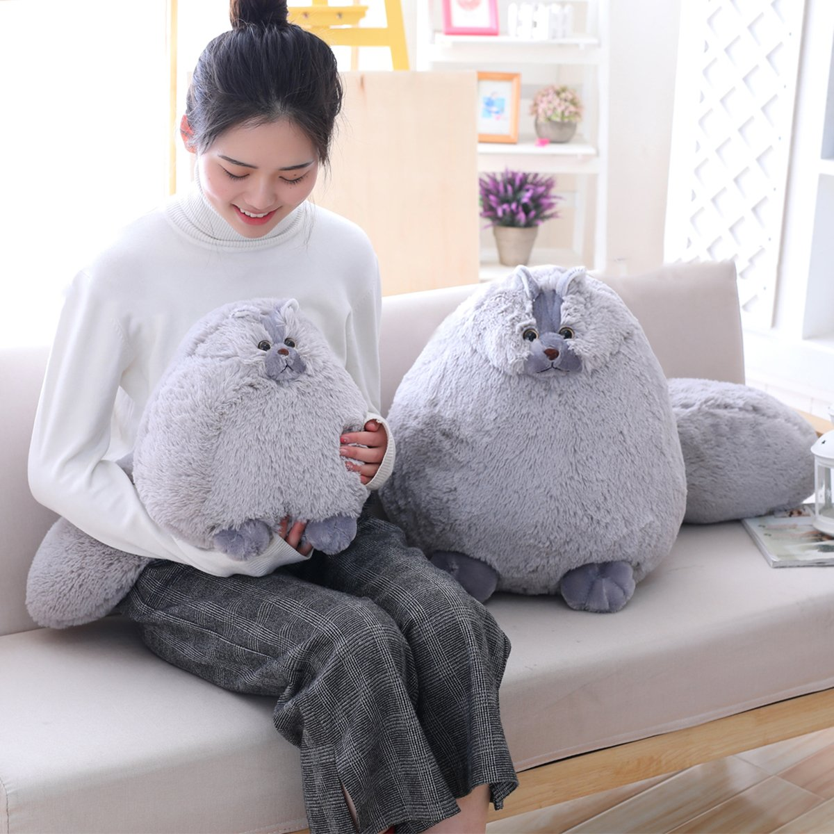 Winsterch Kids Cats Stuffed Animal Toys Birthday Gift,Plush Pillow,Gray,11.8 Inches by Winsterch (Image #5)