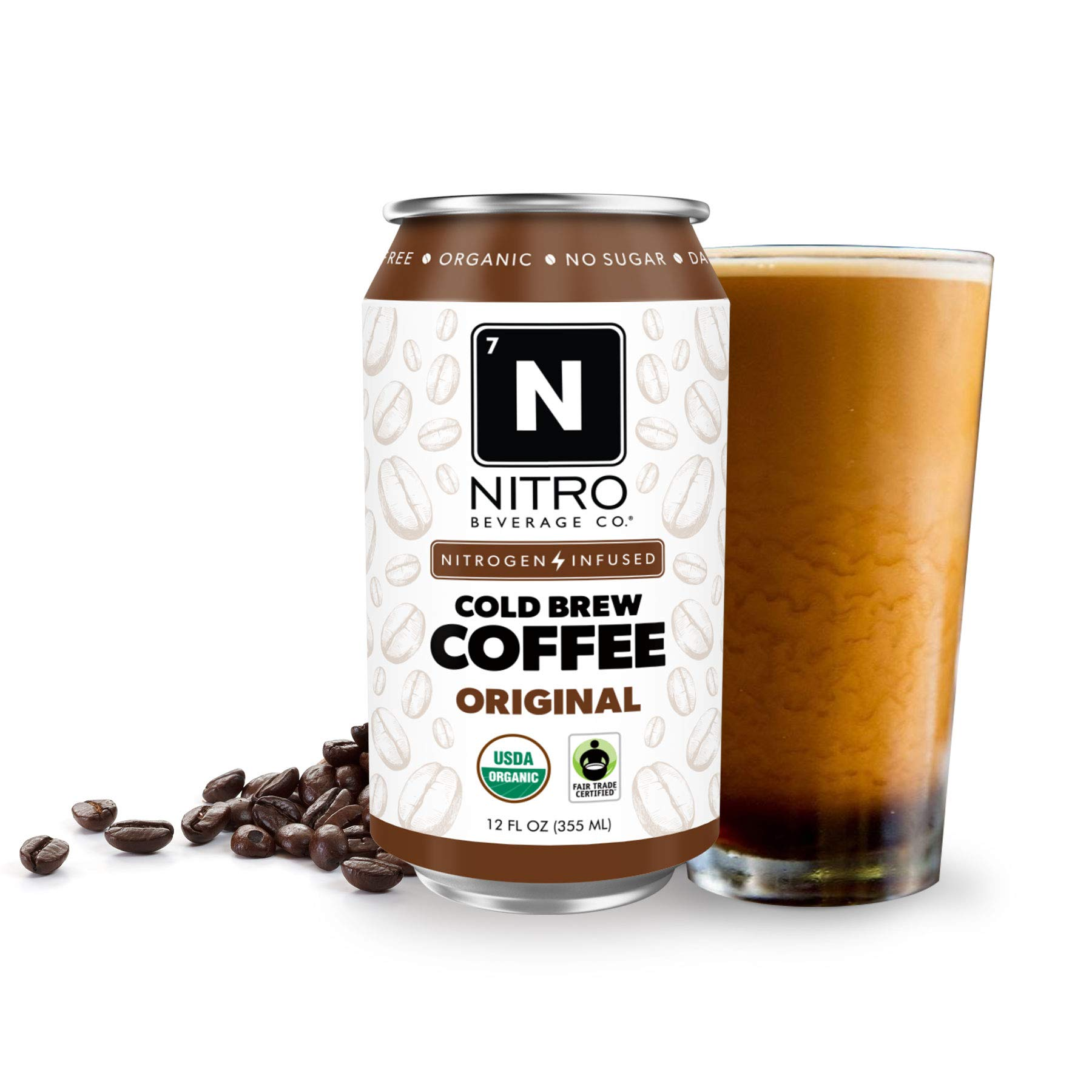 NITRO Beverage Co. | 12-Pack (12 fl oz) | Original NITRO Cold Brew Coffee | Certified Organic & Fair-Trade | Sugar Free, Dairy Free, Zero Calories | Always Cold, Always Fresh