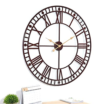 9b421bf1d92f Stunning Large Outdoor Garden Wall Clock Giant Open Face Big Roman Numerals  80cm