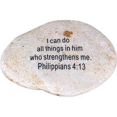 """Extra Large Engraved Inspirational Scripture Biblical Natural Stones Collection - Stone IV : Philippians 4:13 :"""" I can do All Things in him who Strengthens me. : Garden & Outdoor"""
