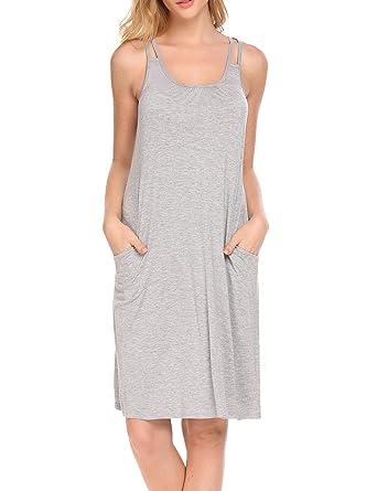 e8995945f HOTOUCH Women Night Sleepwear Long Sleep Wear Dress Comfy Victorian  Nightgown side Pocket Grey S