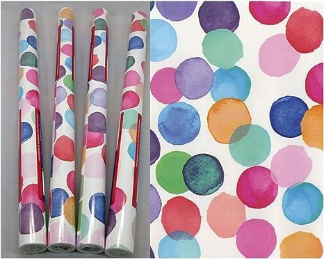 4 Rollen Klebefolie Julia Möbelfolie mit bunten Punkten je Rolle 45 x 200 cm