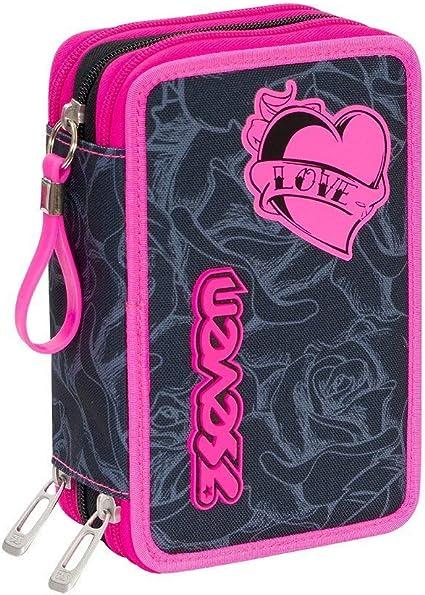 Estuche escolar completo con 3 cremalleras Seven Lefleur color negro y rosa: Amazon.es: Oficina y papelería
