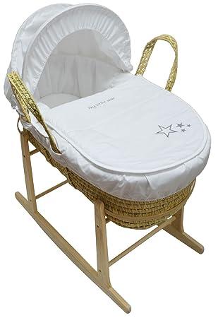 My Little Star Moses cesta y Natural con Soporte balancín blanco Palma: Amazon.es: Bebé