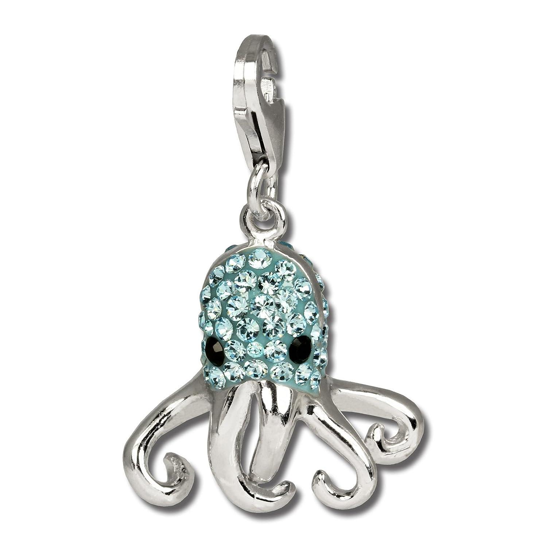 SilberDream Charms Pieuvre paillettes–Poisson d'encre Bleu clair pour bracelets à breloques pendentif en argent 925avec cristaux en Zirconium Chaîne Boucle d'Oreille gsc517h