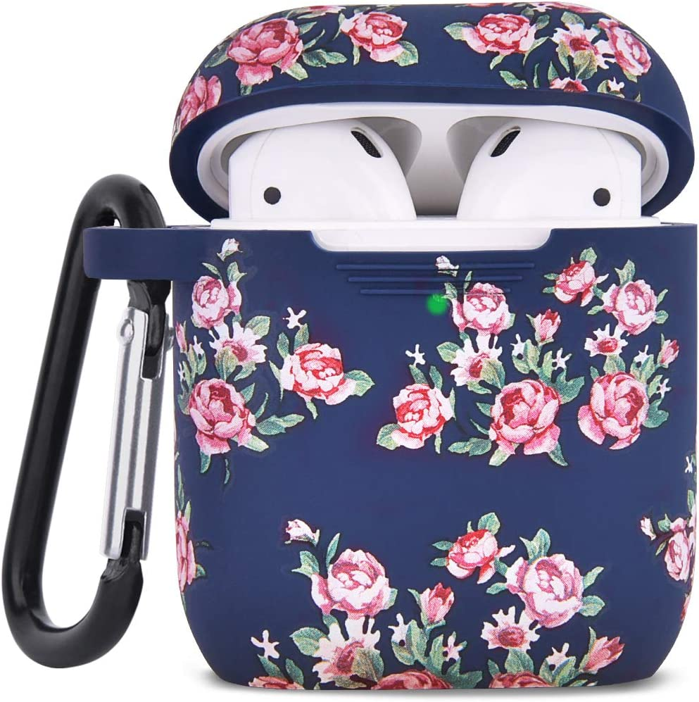 Airpod Case AIRSPO Airpods Case Cover for Apple AirPods 2&1 Cute Airpod Case for Girls Silicone Protective Skin Airpods Accessories with Keychain (Navy Rose)