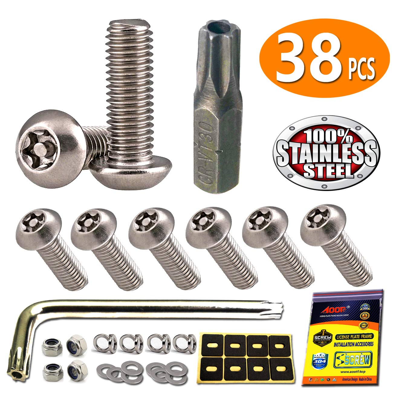 Anti Theft Security Stainless Steel Motorcycle License Plate Frame Bolts Screws