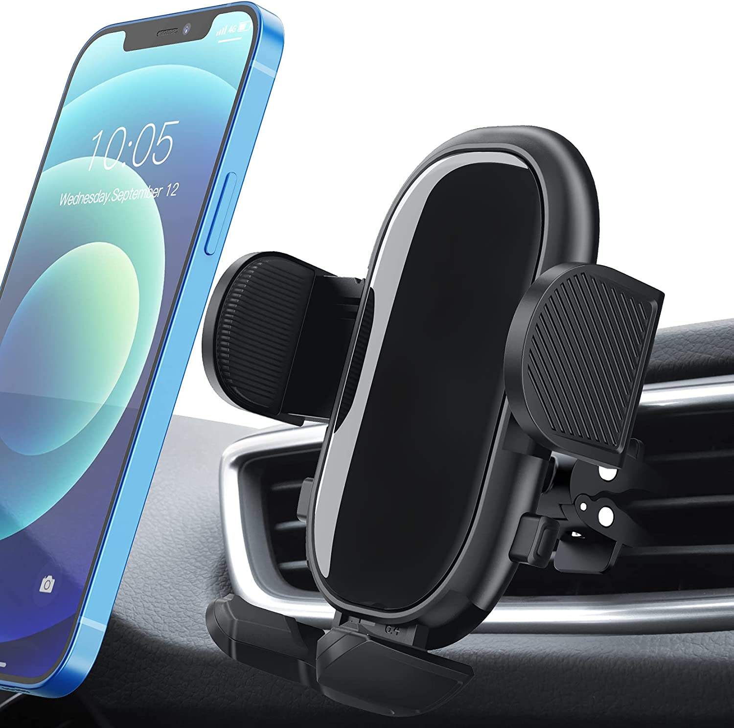 Car Phone Mount, xMpow Air Vent Car Phone Holder with Stable Clip, Adjustable Support Feet Car Mount Compatible with iPhone 12 SE 11 Pro Max XS XR, Galaxy Note 20 S20 S10 and More