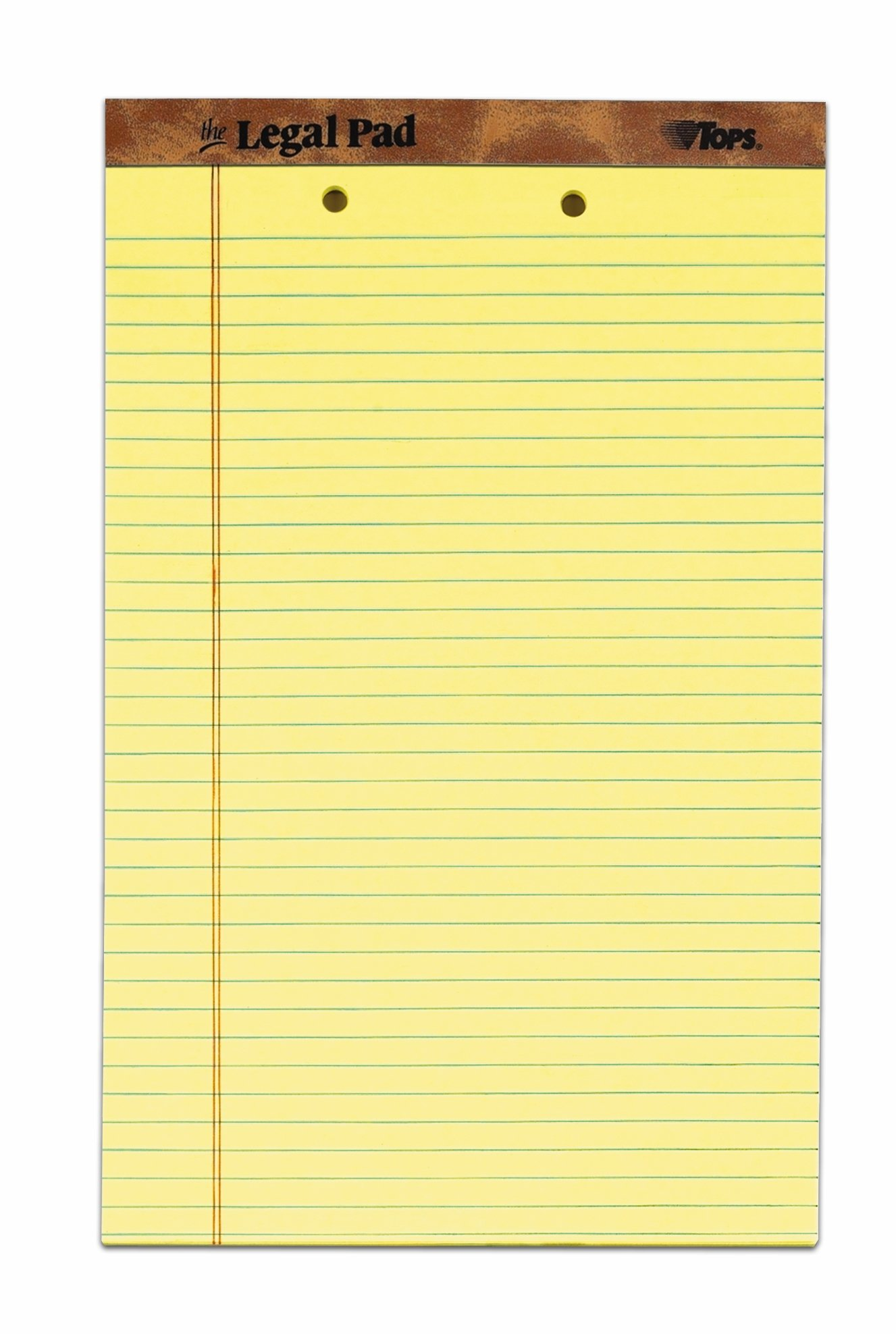 The Legal Pad Legal Pad, 8-1/2'' x 14'', Perforated, 2HP, Canary, Legal/Wide Rule, 50 Sheets per Pad, 12 Pads per Pack