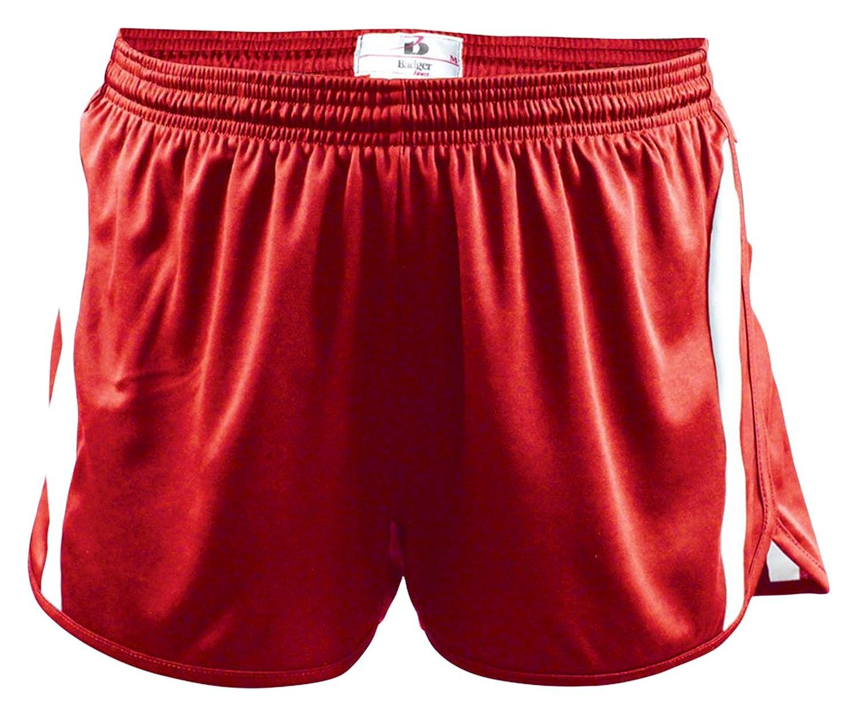 New Badger Big Boy's Aero Elastic Waistband Shorts, Medium, Red/White