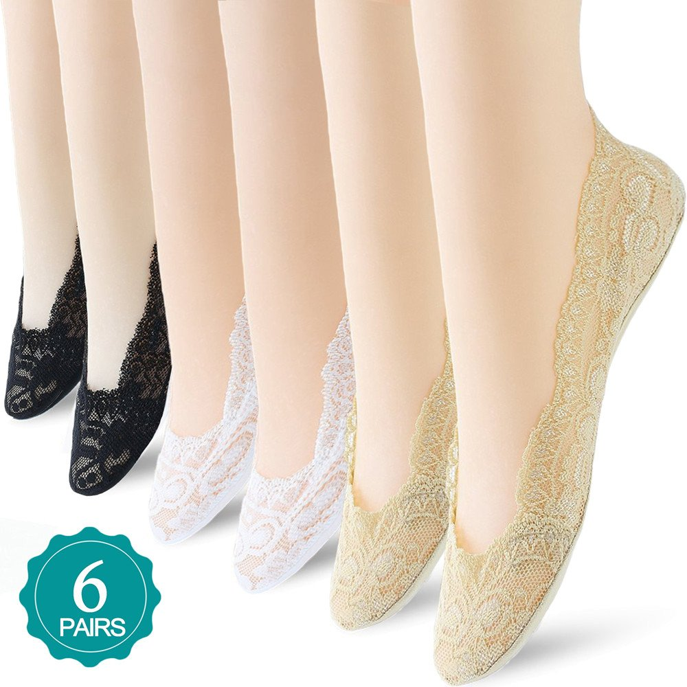 6 Pairs No Show Socks Lace Women No Show Liner Socks Womens No Show Socks Thin Low Cut Casual Socks Non Slip NSS 2-1
