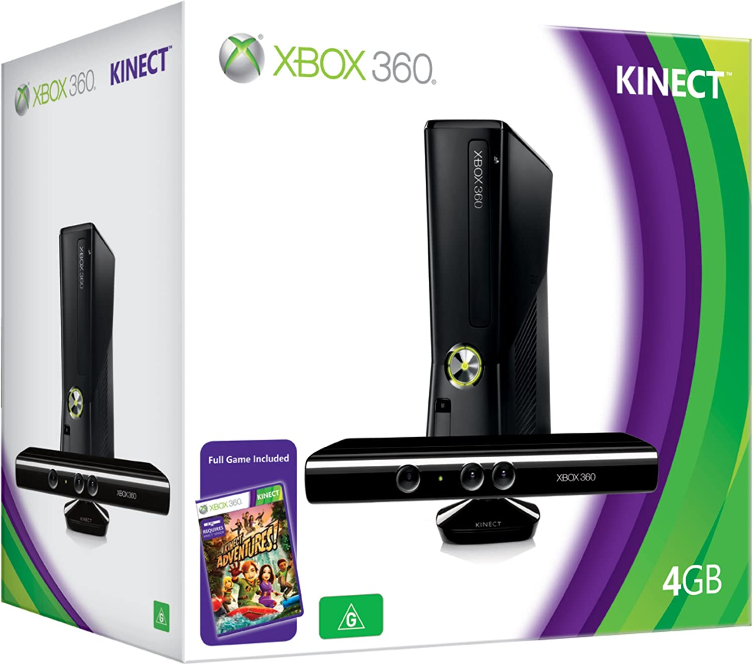 Xbox 360 Consola (4GB Hard Drive) with Kinect Sensor and Kinect Adventures [Importación inglesa]: Amazon.es: Videojuegos
