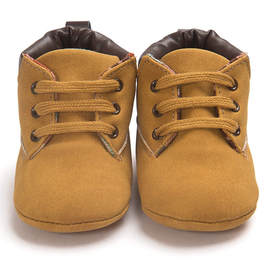 Voberry Toddler Baby Boy's Leather Sneaker Shoes Lace up Snow Boots Warm (0~6Month, Khaki) by Voberry (Image #5)