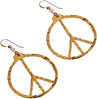 product image for Hand Hammered Peace Symbol Gold-dipped Earrings on French Hooks