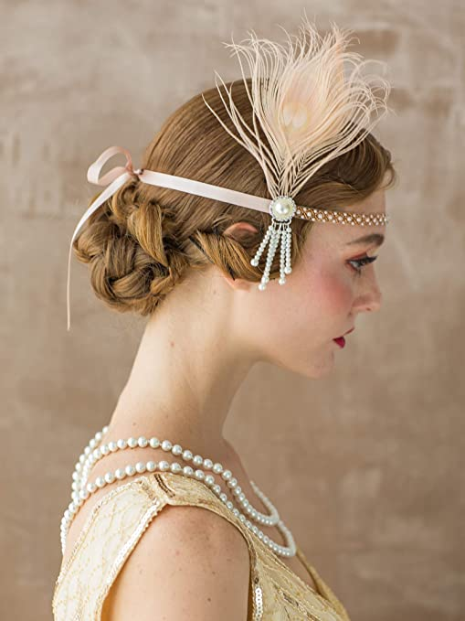 1920s Flapper Headband, Gatsby Headpiece, Wigs SWEETV Flapper Headbands 1920s Womens Peacock Headband Great Gatsby Inspired Crystal Headband for Bride Feather Headband Onesize Champagne $13.99 AT vintagedancer.com
