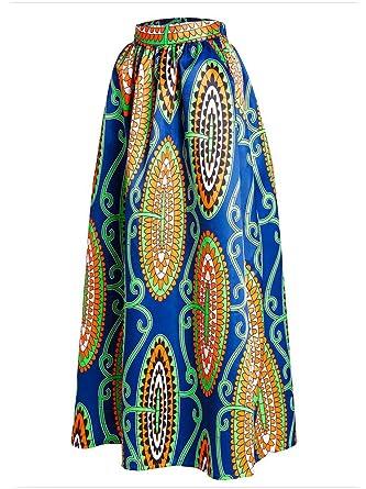 Afibi Women African Printed Casual Maxi Skirt Flared Skirt ...