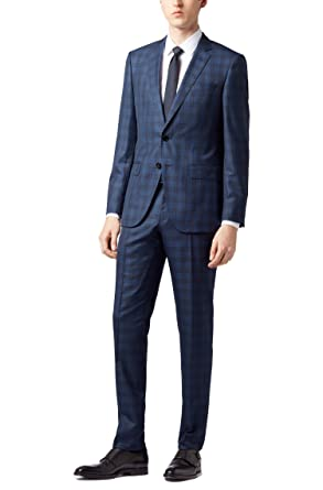 864dcedea Image Unavailable. Image not available for. Color: Hugo Boss Men's 'Huge/ Genius' Blue Slim Fit Virgin Wool Silk Checked Suit