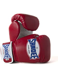 Sandee Boxing Gloves Muay Thai Lace Up Pro Fight Leather Red