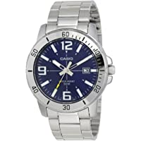 Casio Men's Blue Dial Stainless Steel Band Watch - MTP-VD01D-2BVUDF