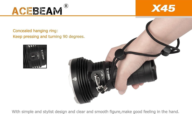 +4x Panasonic Batteries Combo Acebeam X45 Flashlight w// I4 Charger 4x Acebeam