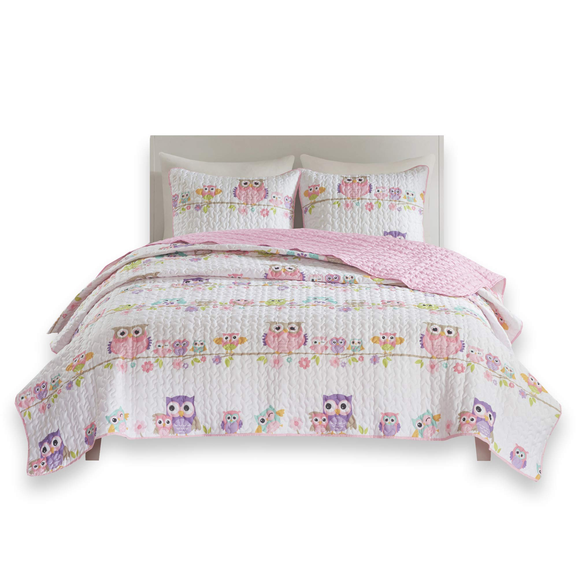 Comfort Spaces - Howdy Hoots Kids Bedspread Mini Quilt Set - 2 Piece - Pink White - Teens/Girls - Owl Print - Twin Size, Includes 1 Quilt, 1 Sham