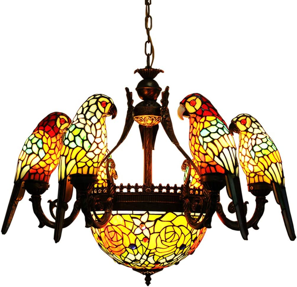 "Makenier Baroque Vintage Tiffany Style Stained Glass 6 Parrot Bird + 12"" Inverted Shade Chandelier Ceiling Light, Bronze Finish for Living Room, Bedroom"
