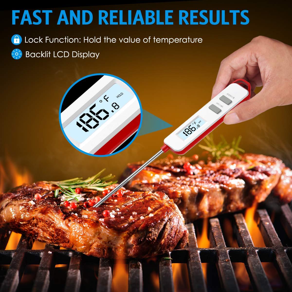 Sonda Lunga Lettura Istantanea Meglio per Carne Blu Digitale Termometro da Cucina con Schermo LCD Latte e Acqua del Bagno Griglia Barbecue Amir Termometro Cucina
